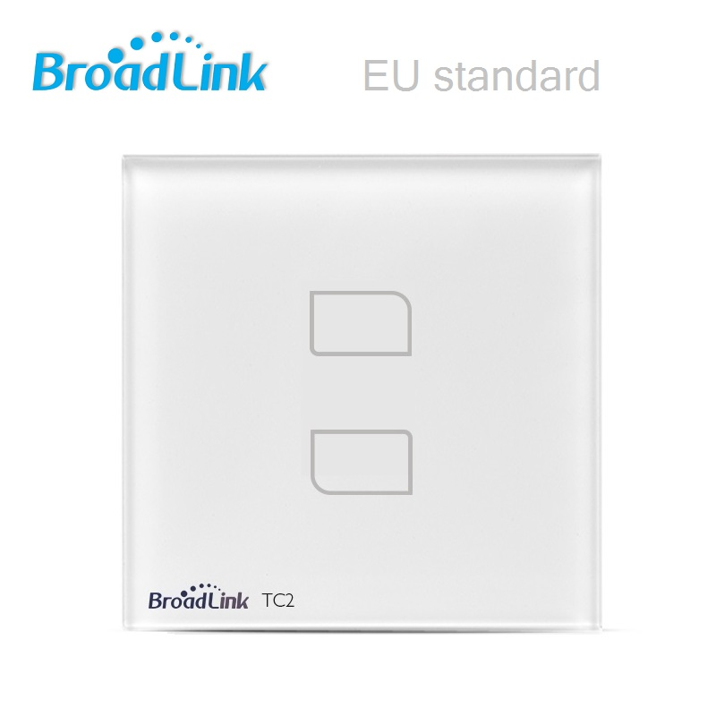 bilder für Broadlink eu standard tc2 wireless 2 gang fernbedienung wifi wandleuchte touchscreen schalter 170 v-240 v ios android smart home