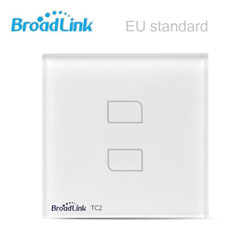 imágenes para Tc2 estándar de la ue 2 gang control remoto inalámbrico broadlink wifi pantalla táctil de luz de pared interruptor 170 v-240 v ios android smart home
