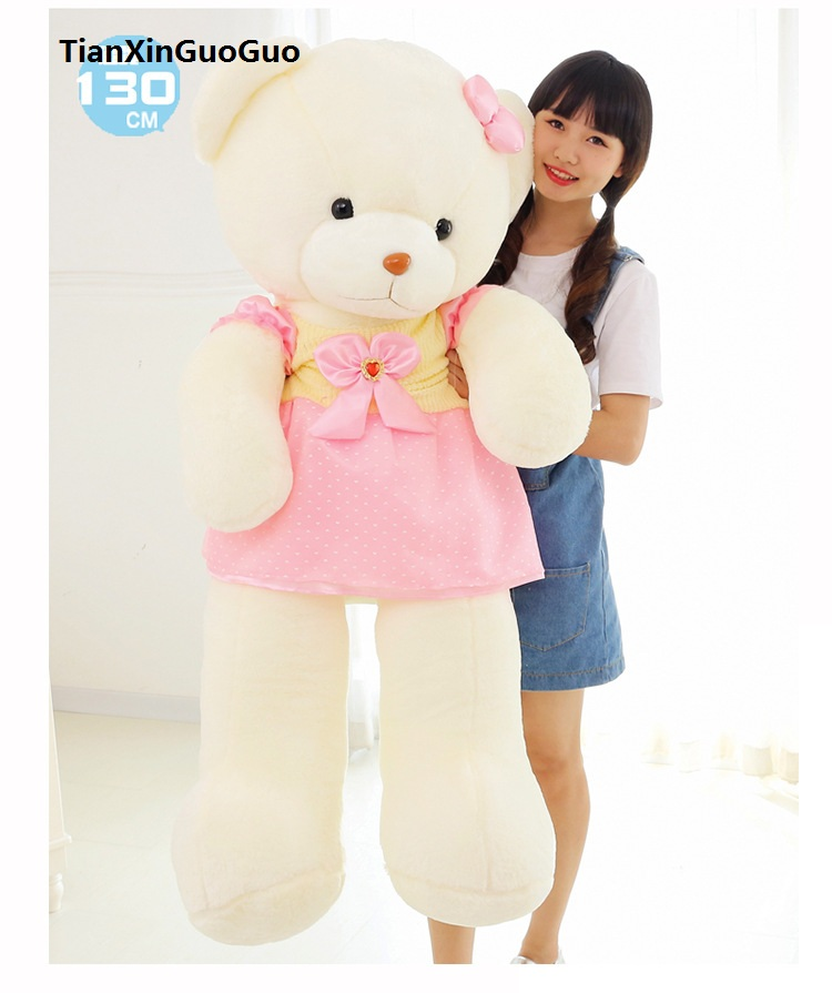 huge 130cm cartoon teddy bear plush toy pink skirt white bear soft doll,hugging pillow birthday gift h1285 the huge lovely hippo toy plush doll cartoon hippo doll gift toy about 160cm pink