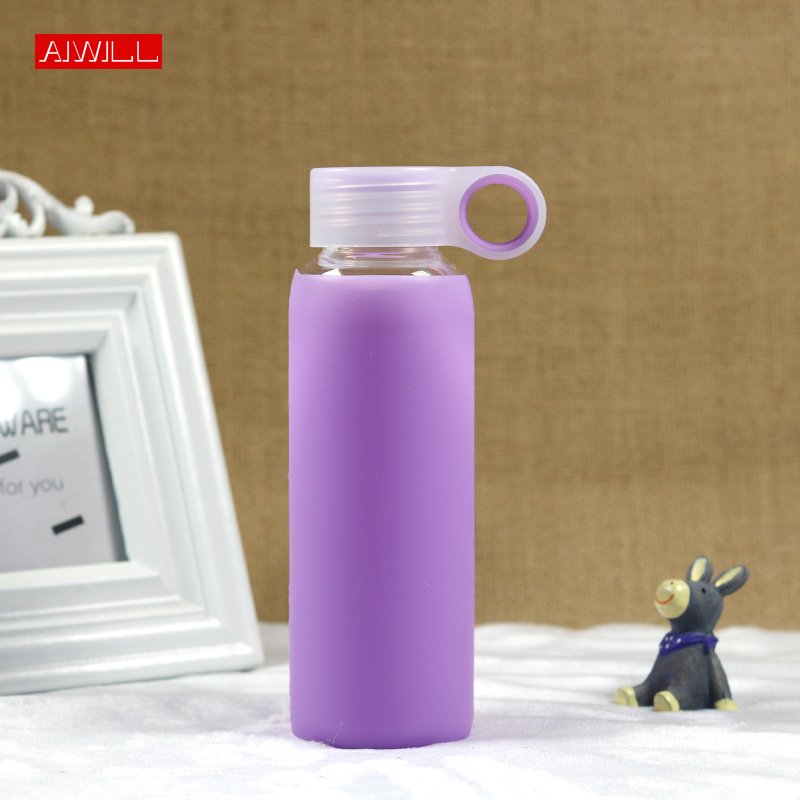 New Arrival Fashion colors creative AIWILL 280mL glass water bottle glass beautiful gift women water bottles Free shipping