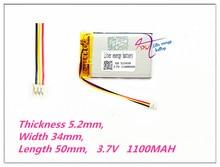3 thread 523450 3.7 v, 1100 mah, [503450] plib; bateria de íon de lítio de polímero/li ion para gps, mp3, mp4, mp5, dvd, bluetooth, brinquedo modelo