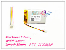 3 thread 523450 3.7V,1100mAH,[503450] PLIB; polymer lithium ion / Li ion battery for GPS,mp3,mp4,mp5,dvd,bluetooth,model toy