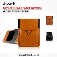 Vintage Envolope Sleeve Pouch Bag Genuine Leather Wool Felt Case Cover For Apple Macbook 12 Laptop