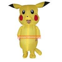 Şişme Pikachu Kostümleri Çocuk Çocuklar Yetişkin için Pokemon Cosplay Darbe Halloween Kıyafeti Erkek Kız Maskot Fantezi Elbise Suit