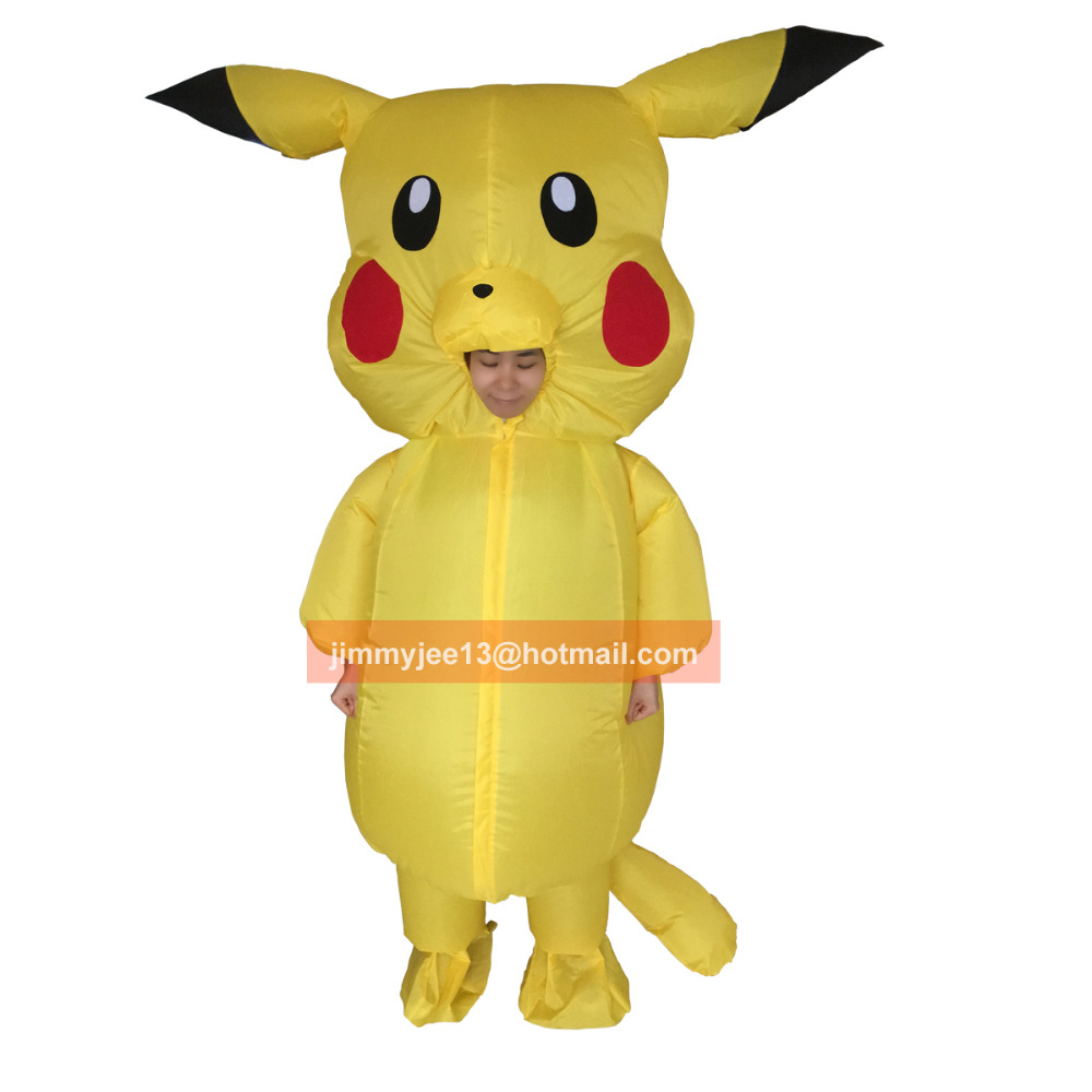 Pikachu Costume for Kids Adult Pokemon Cosplay Inflatable Halloween Costumes Outfit Men Women Boys Girls Mascot Fancy Dress Suit