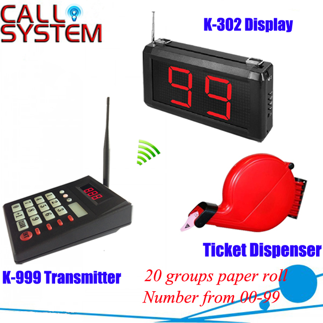 Hospital/clinic wireless paging calling system queue management 1 keypad 1 number screen 1 ticket dispenser 2 receivers 60 buzzers wireless restaurant buzzer caller table call calling button waiter pager system
