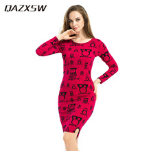 QAZXSW 2018 Plus Size Spring Women Casual Owl Printing Long Sleeve Ladies  Dress. US  11.00   piece Free Shipping ab44db7814ff