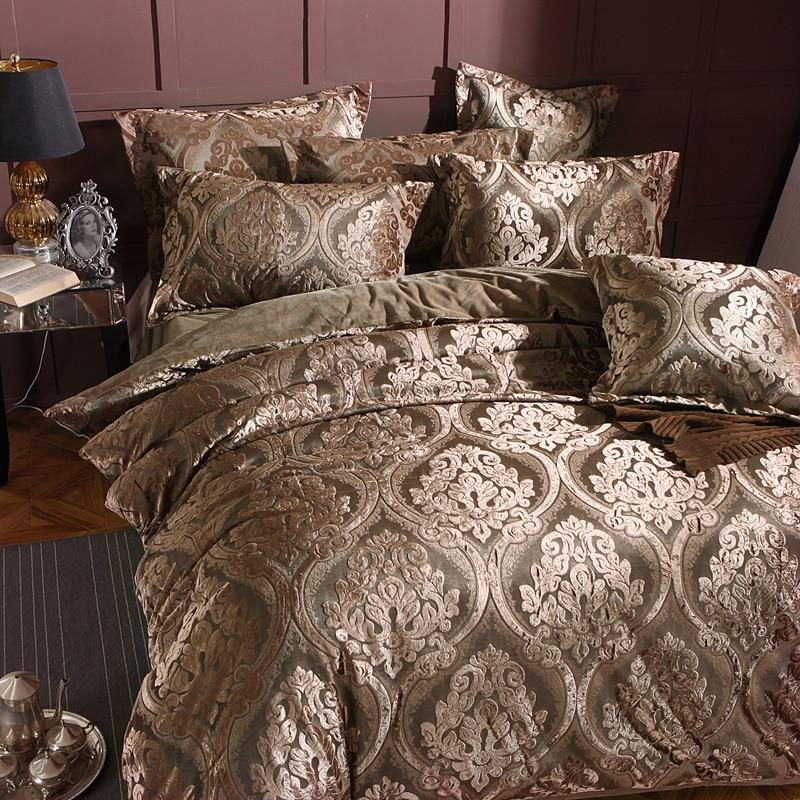 4 6pcs Thick Winter Warm Flannel 3D Jacquard Bedding Set luxury Duvet Cover Set Bed Sheet