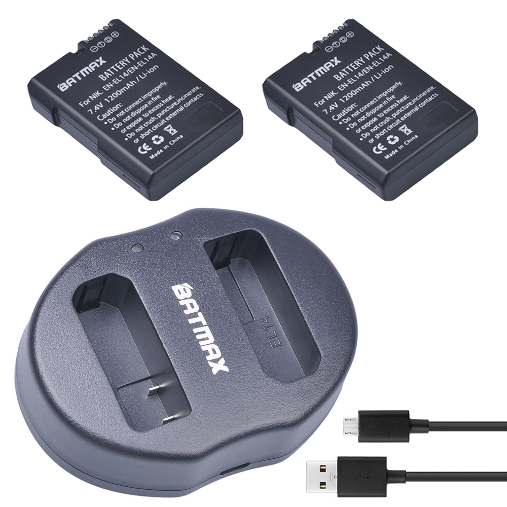 2Pcs EN-EL14 EN EL14 EN-EL14a Rechargeable Battery + USB Dual Charger for Nikon P7800 P7000 D5500 D5300 D5200 D3200 3100 D5600 2x en el14 en el14a battery