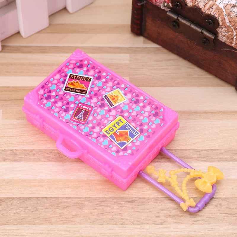 Móveis casa de Bonecas boneca Brinquedos Mala de Viagem Moda Bonito Bagagem Simulação 3D Jogo Casa de Jogo Crianças dos miúdos Meninas Tronco Plast