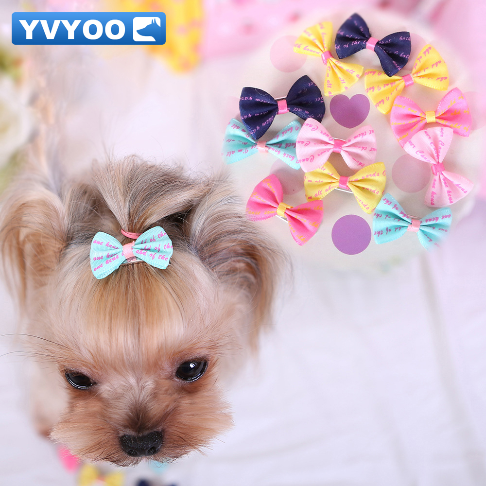 YVYOO Beautiful Pet Dogs Hair Accessories Colorful Hair Clips Teddy  Dog Accessories Bow-knot Cat Headdress 1PCS