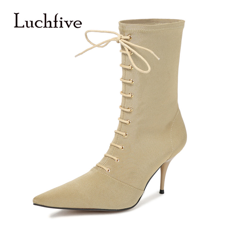 2019 Nude Stretch Ankle Boots Woman Pointed Toe Strange High Heel Boots Women Fashion Elastic Sock