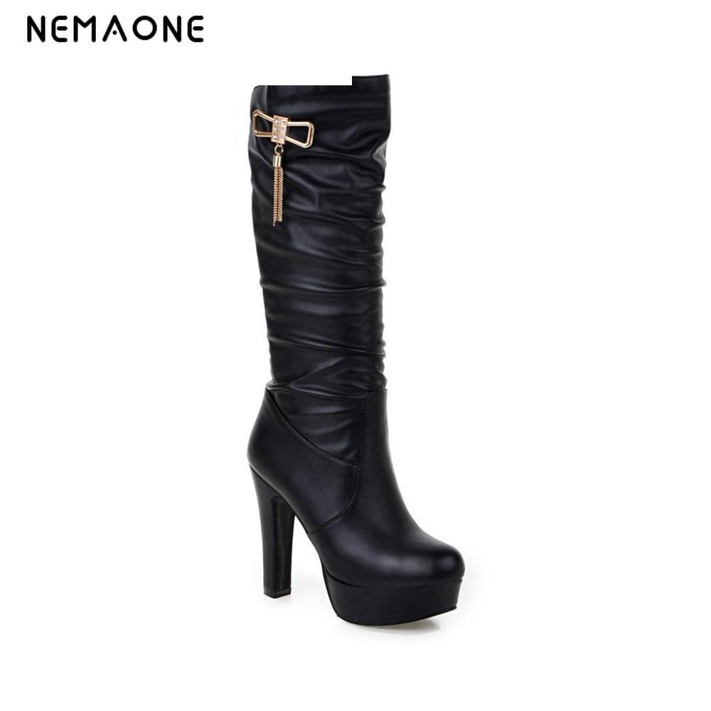 NEMAONE Women Knee Boots 2017 Sexy Vintage Chunky High Heels Spring Autumn Shoes Round Toe Less Platform Motorcycle Boots 2015 hottest drop shipping vintage round toe strappy zip knee high boots studs chunky heel leather boots women high heels j459