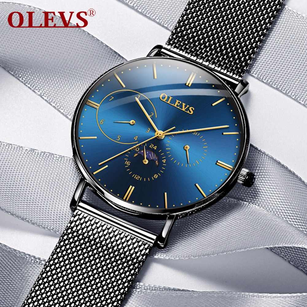 5539c1d7f ... OLEVS Ultra-thin Men Watch Male Leather Moon Phase Quartz Watches Mens  Luxury Brand Waterproof ...