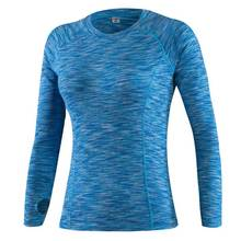 2017 Female Long Tee Hoody Gymming Fitness Women Conpress Workout Clothing Sporting T Shirt Runs Thermal Underwear Yogaing Top