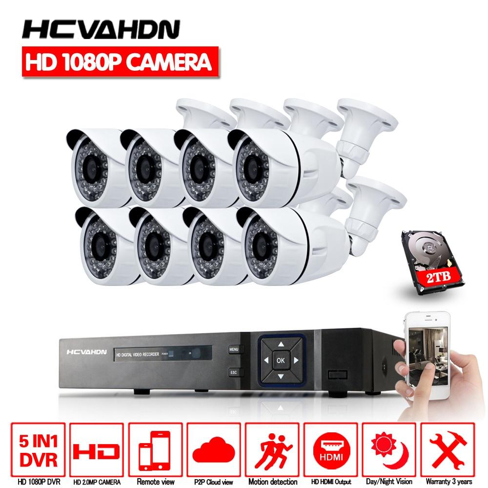 Segurança em casa 8ch 1080 p hdmi dvr ahd exterior 1080 p cctv sistema de câmera 8 canais vídeo vigilância visão noturna kit com 1 tb hdd