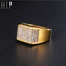 HIP Hop Gold Color Stainless Steel Micro Pave Rhinestone Iced Out Bling  Square Rings for Men Jewelry Dropshipping 1bdd04d7d063