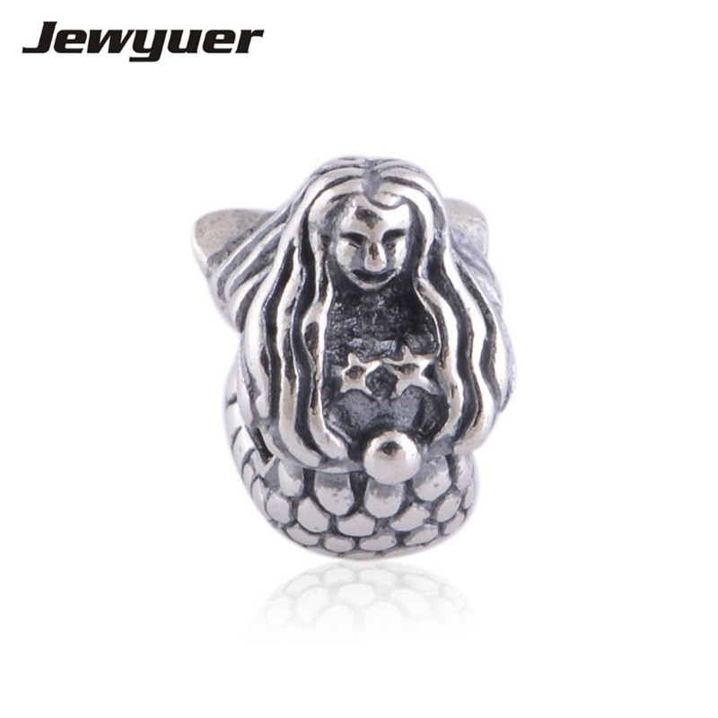 100% 925 Silber Meerjungfrau Charme 925 Sterling Silber Edlen Schmuck Fit Charme Perlen Armband Armreifen Diy Für Frauen Memnon Be239