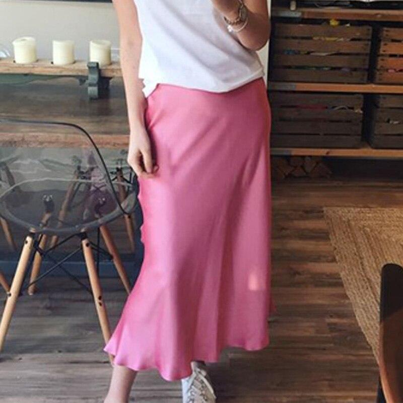 Women's Irregular Silk High Waist Ruffled Long Skirt Pink A-line Woman Skirts Summer Office Lady Sweet Elegant Female Clothes