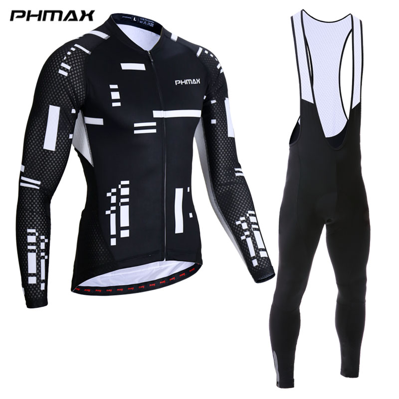 PHMAX Pro Cycling Jersey Set Long Sleeve Mountian Bike Clothes Wear Bicycle Clothing Ropa Maillot Ciclismo Cycling Set For Mans