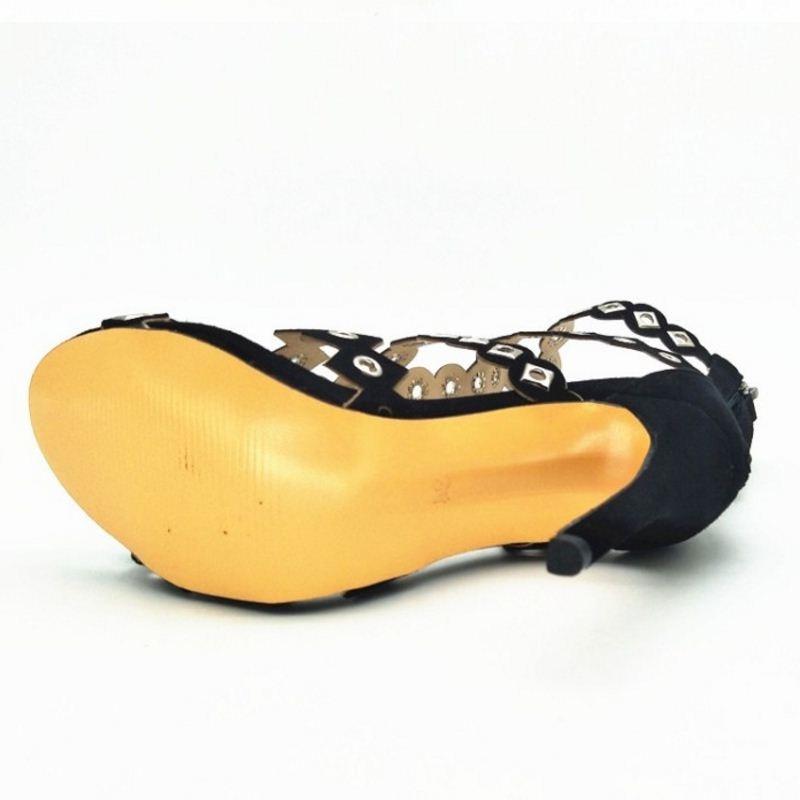Sandalen 34 Toe Gladiator Dünne Peep Frau Größe Schwarzes Neue Frauen Heels Partei Schuhe Nieten 43 Design Zipper Razamaza qA5YwUw