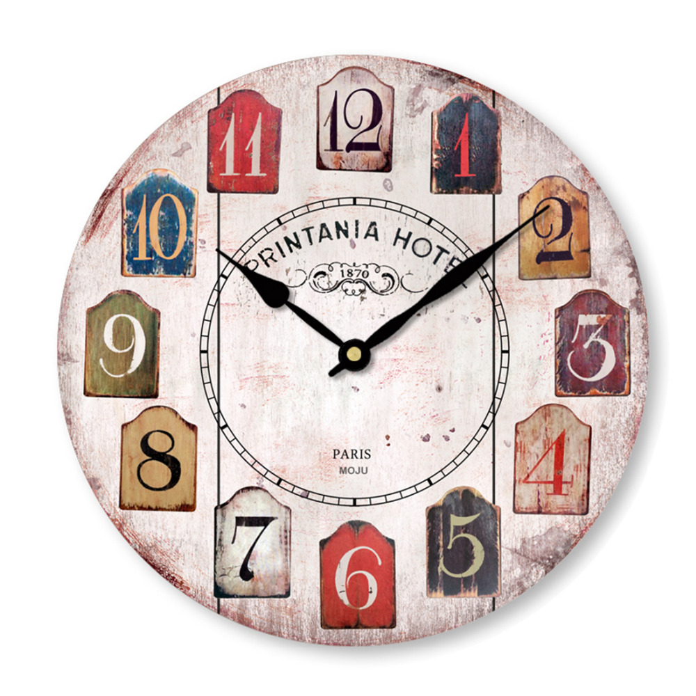 Creative Vintage Rustic Country Tuscan Style Silent Wooden Wall Clock Home Kitchen Decoration Personalized Customization