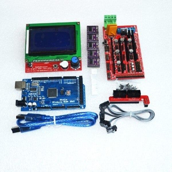 3D Imprimante kit 1 pièces Méga 2560 R3 + 1 pièces RAMPES 1.4 Contrôleur + 5 pièces DRV8825 Moteur pas à pas + 1 pièces LCD 12864 contrôleur