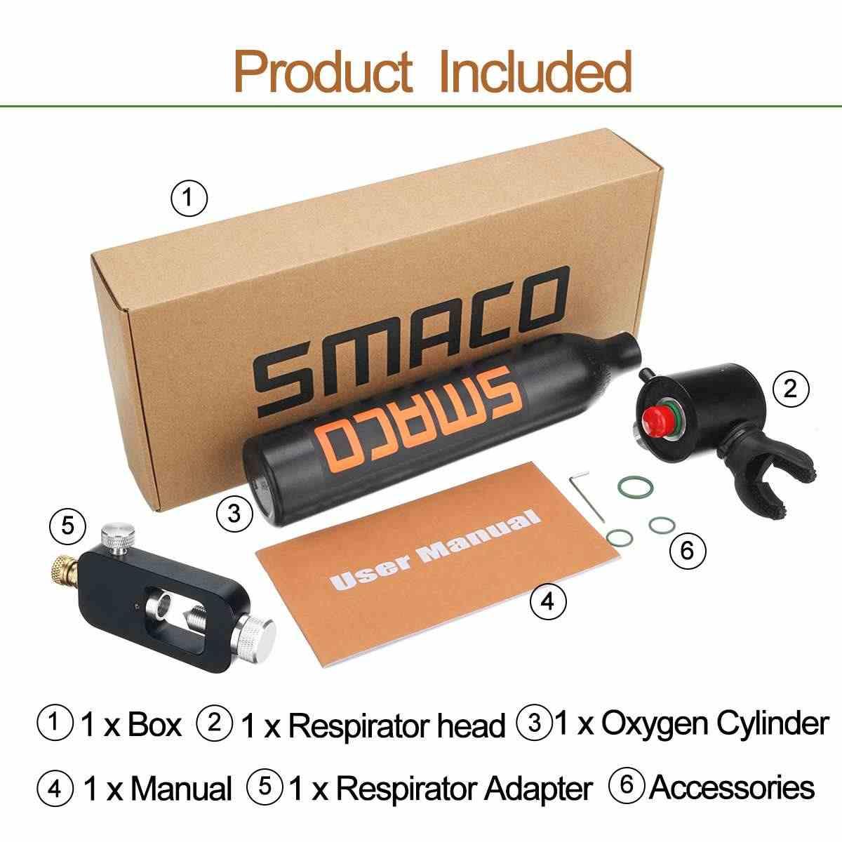 SMACO 500 مللي أسطوانة أكسجين الغوص معدات صهريج التنفس محول رئيس 3000PSI