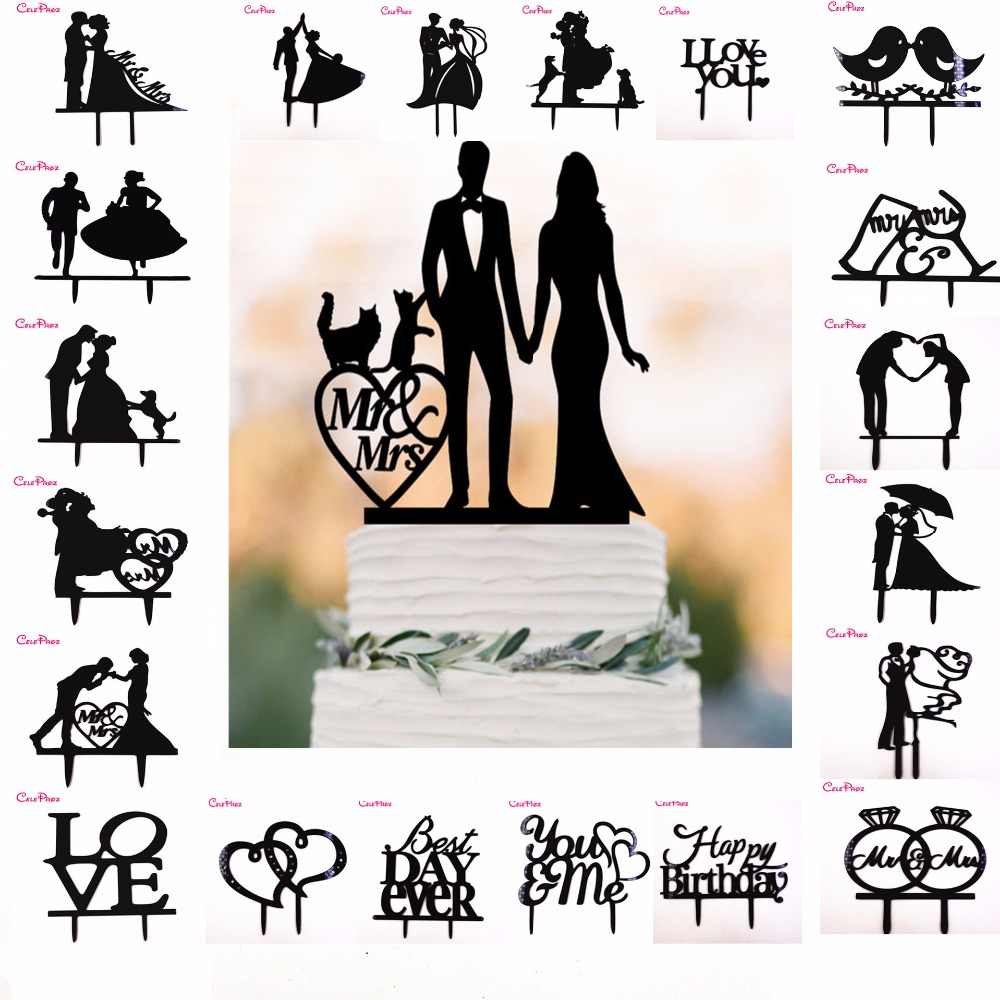 Acrylic Cake Topper Black Bride Groom Dogs Cats Mr Mrs Cake Topper Wedding Party Cake Decoration Party Favors Wedding Baking Cake Decoration Supplies
