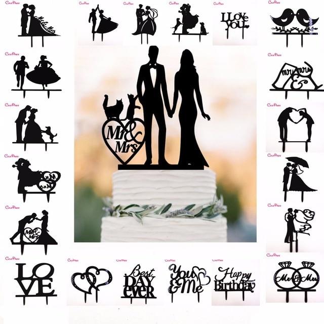 الاكريليك كعكة توبر الأسود العروس العريس الكلاب القطط السيد Mrs كعكة توبر حفل زفاف كعكة الديكور كعكة الزفاف لوازم الديكور