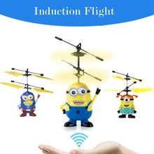 Hot Sale Movie Figures Minions Induction Rc Drone Helicopter Three Styles Cute Minions Rc Toy for Kids Electronic Toys
