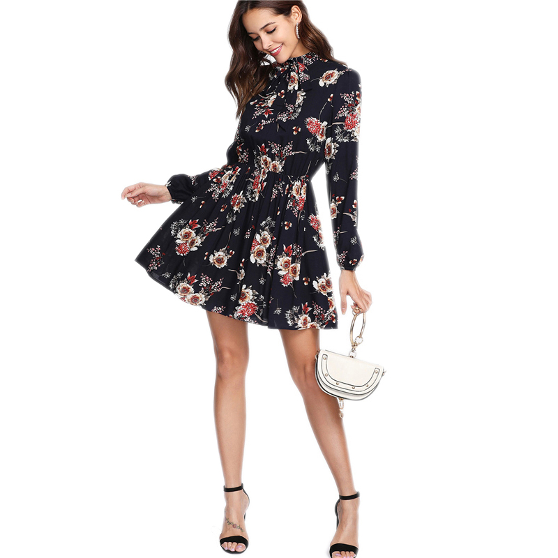 Autumn Floral Print Women Dresses Multicolor Elegant Long Sleeve High Waist A Line Chic Dress Ladies Tie Neck Elastic Dress floral chiffon dress long sleeve