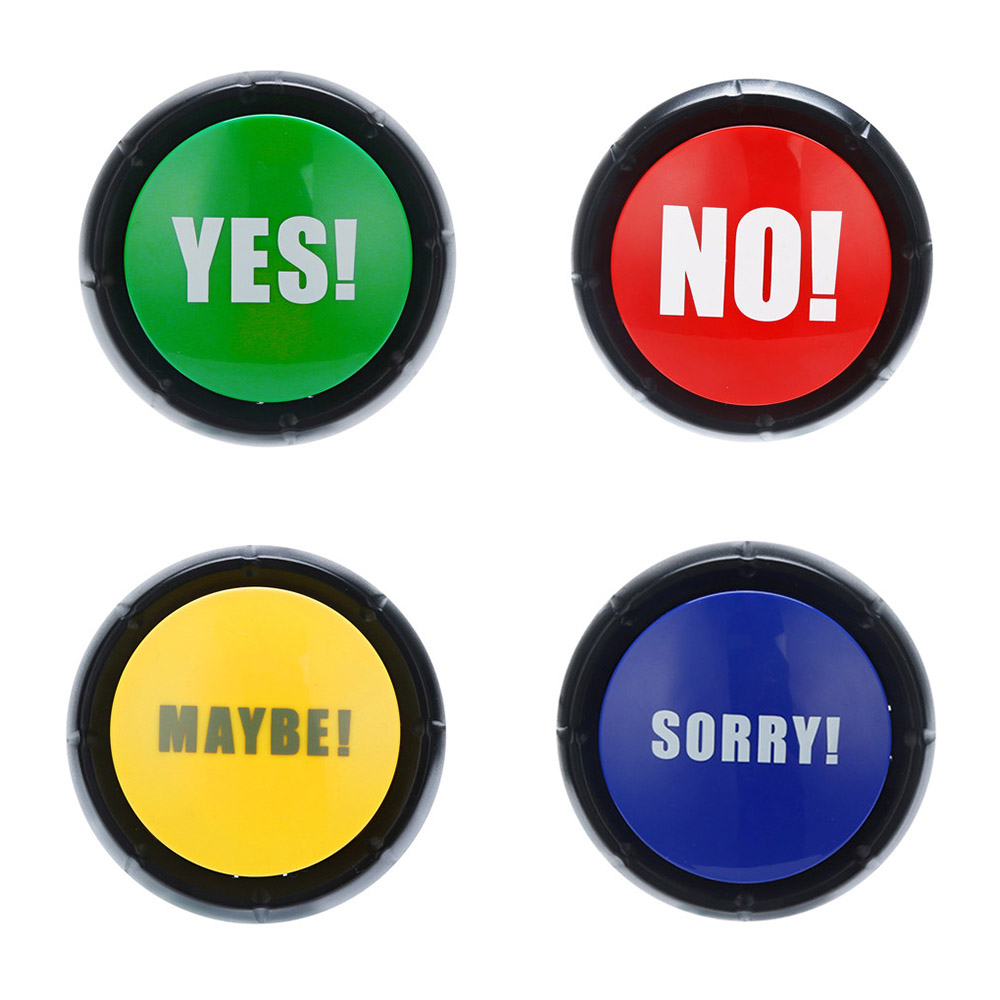 MrY Yes No Button Sound Toys Electronic Round Squeeze Box Toy Sound Button Party Tools Supplies Sounding Toys Holiday Decorations