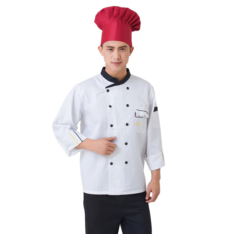 2019 New Food Service Long Sleeve Chef Jacket Restaurant Chef Top Hotel Uniform for Kitchen Male Hotel Work Uniform White
