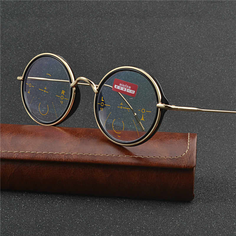 Vintage Transition Sunglasses Photochromic Reading Glasses Men women Multifocal Diopter Progressive Round reading glasses UV NX