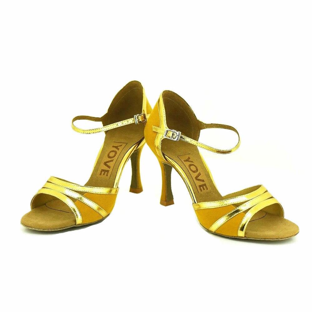 ФОТО YOVE Customizable Dance Shoes Satin Women's Latin/ Salsa Dance Shoes 3.25