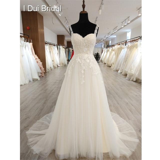 A Line Classic Wedding Dress Lace Appliqued Corset Simple Elegant