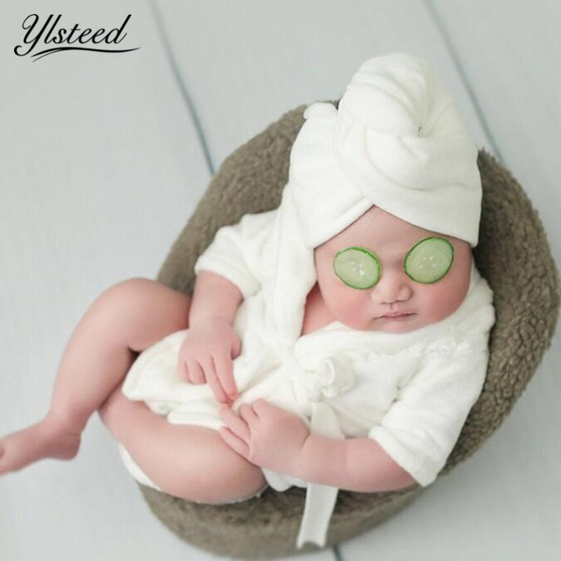 Bathing-Suits Newborn-Bathrobes Photoshoot Infant Outfits Baby Cute with Headwrap