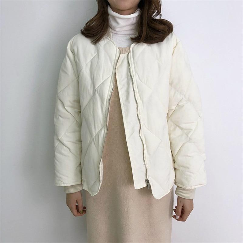 Losange Pain Et Manteau 2018 Costume D'hiver Coton Vêtements Femme Nouveau Col Automne Court Épais qSUzxUTw1