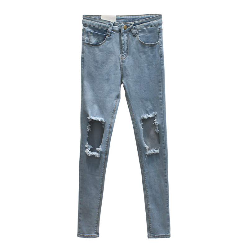 WQJGR Ripped Jeans For Women Ligth Blue High Waist Jeans Woman Thin Nine Part Bound Feet Pencil Pants игрушка альтернатива слонёнок м4937 ligth blue