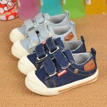 Zapatos de los niños de La primavera y el otoño de 2017 nueva moda de lona de los niños niños y niñas de mezclilla cómodos zapatos deportivos de ocio