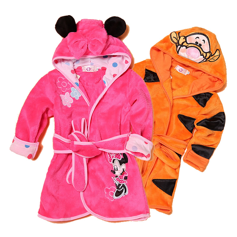 Home Furnishing bathrobe Kid Pajamas Robe 0-6T baby clothes winter children sleepwear cartoon animals baby boy girl clothing