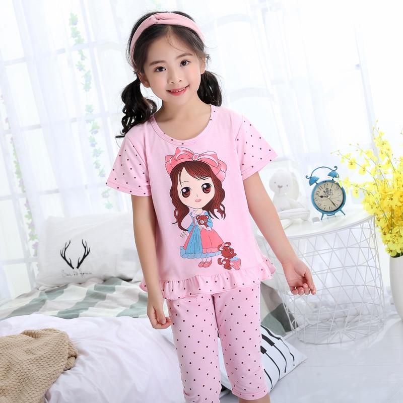 Pajamas Girl Summer Short Sleeve Cotton Set Princess ...