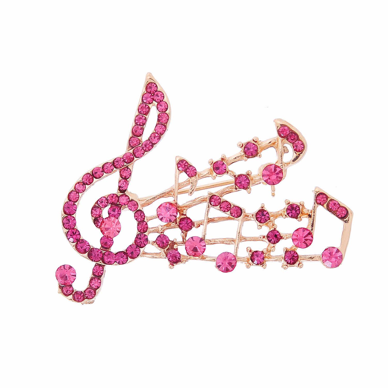 Vendita calda Nota Musicale di Cristallo di Grandi Dimensioni Spilla Spille Per Le Donne Austriaco Zircone Corona Spilla Spille del Partito Dei Monili Della Decorazione Del Vestito