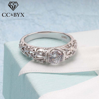 CC Vintage Rings Palace Pattern Silver Ring Cubic Zirconia Wedding Engagement Bridal Jewelry