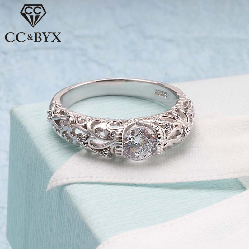 CC Vintage Rings For Women Palace Pattern Silver Ring Cubic Zirconia Wedding Engagement Bridal Jewelry Drop Shipping CC1495