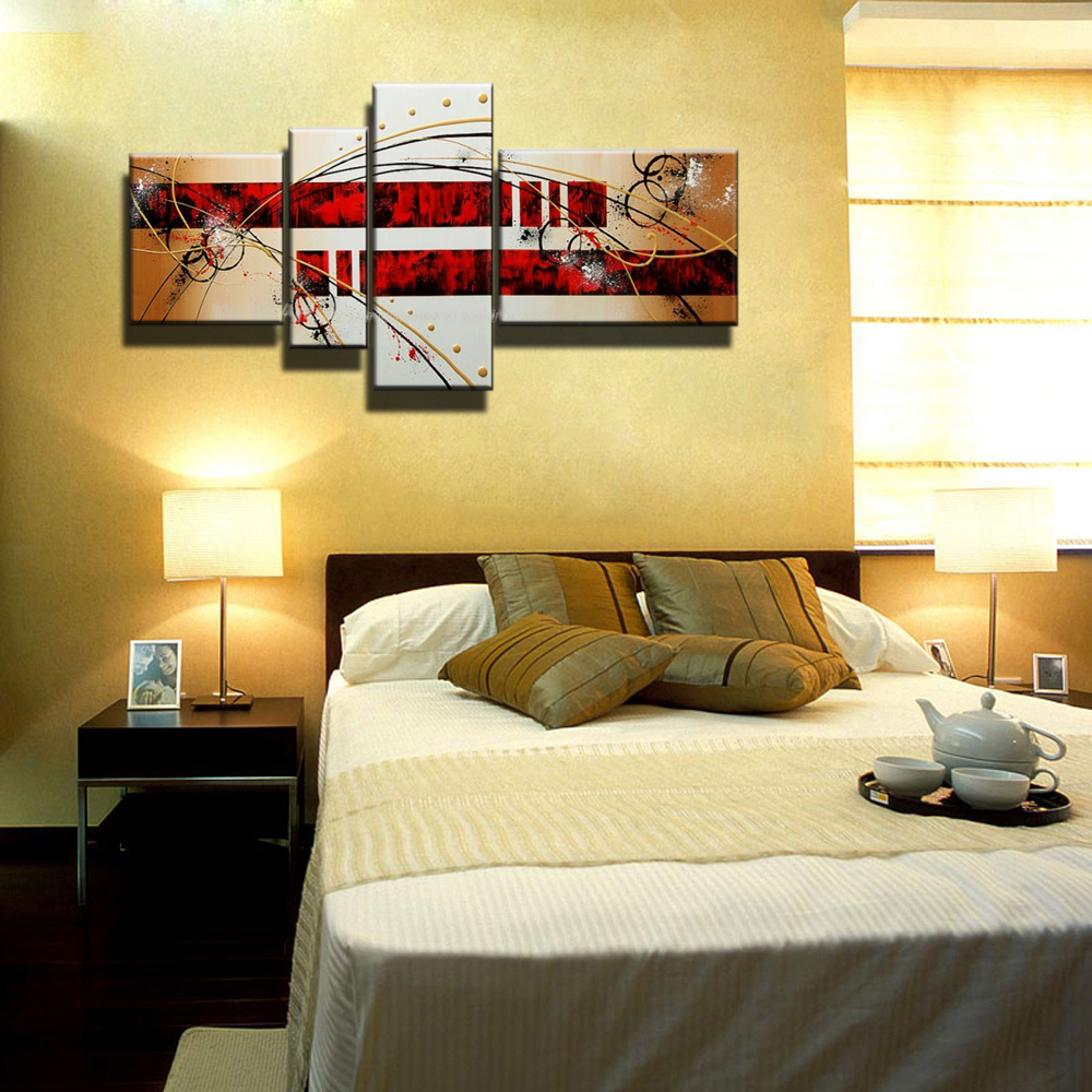 MUYA modern abstract oil painting with black and red acrylic ...