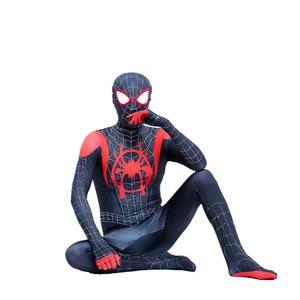 Image 5 - ילדים ספיידרמן קוספליי חדש סופר עכביש תלבושות לתוך עכביש פסוק מיילס מוראלס בגד גוף חליפת סרבלי למבוגרים מערער בגדים