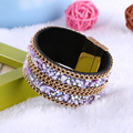 trendy red blue black green brown purple leather shining beads crystal rhinestone stone charms easy clasp big bangle for women
