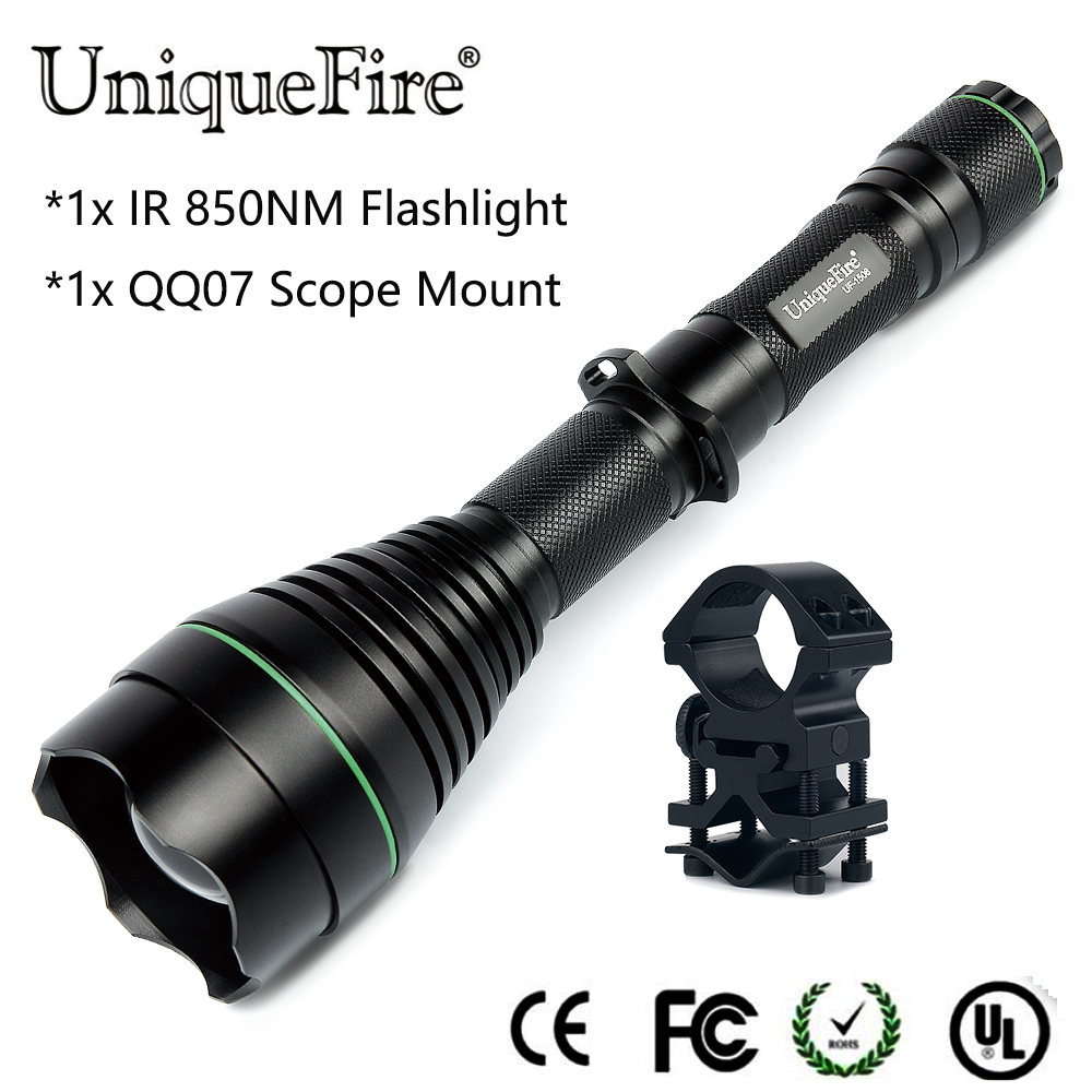 Latest Design NightVision Flashlight Uniquefire 1508-50mm IR 850NM Led Zoom 3 Modes Adjustable Flashlight Torch+QQ07 Scope Mount uniquefire t67 uf 1508 ir 850nm led light adjustable focus flashlight torch xre red light lamp holder perfect for night hunting